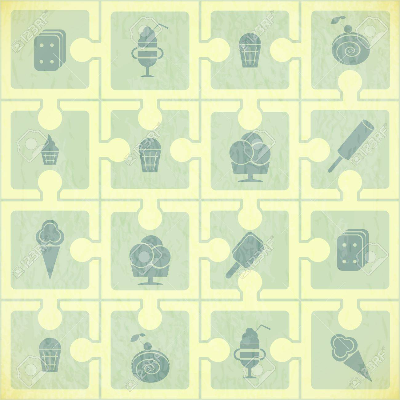 Ice Cream Pattern - Retro Background - Vector Illustration Stock Vector - 14442124