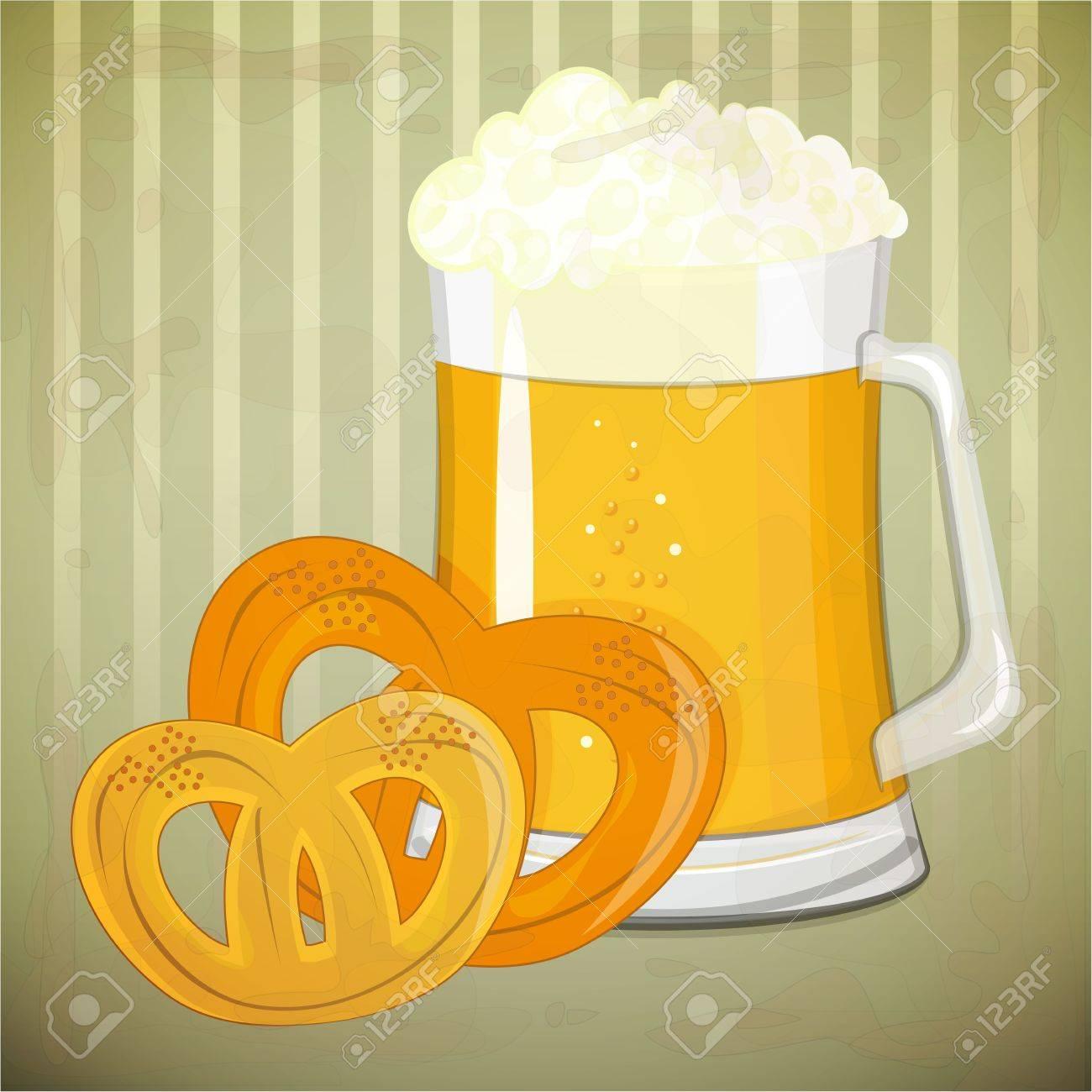 Retro Design Beer Menu - beer and  pretzels in vintage style - Vector illustration Stock Vector - 14442100