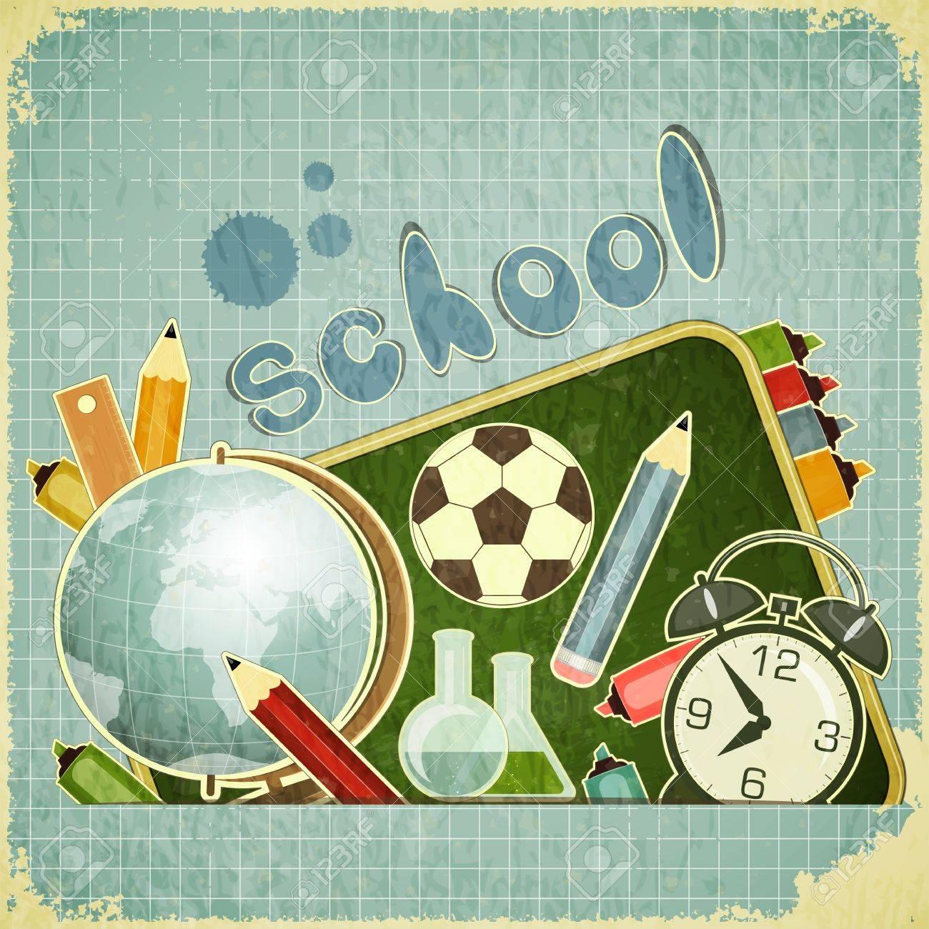 Retro card - back to school Design - School Board and School Supplies on blue vintage background - vector illustration - 14502177