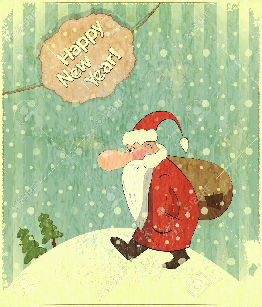 Christmas Cards With Santa And Text Happy New Year - New Year ...