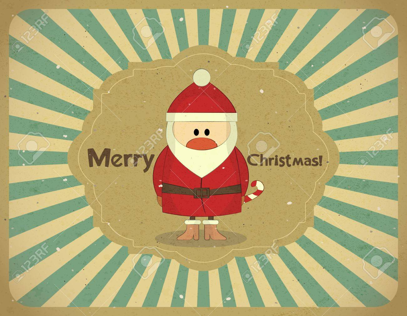 Santa Claus on grunge background, Merry Christmas postcard in Retro style - vector illustration Stock Vector - 15171520