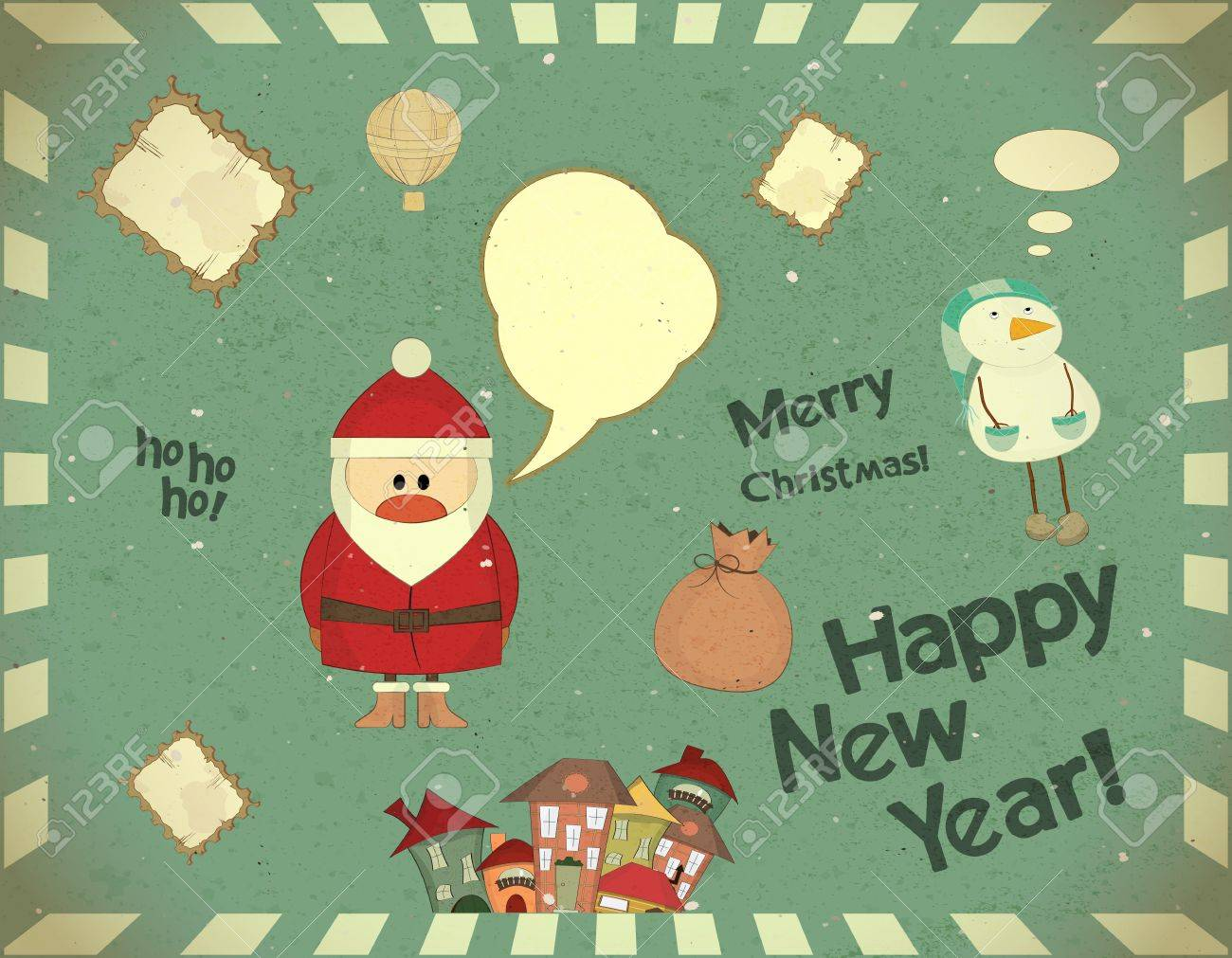 Santa Claus and snowman on vintage background, Merry Christmas postcard in Retro style Stock Vector - 15498616