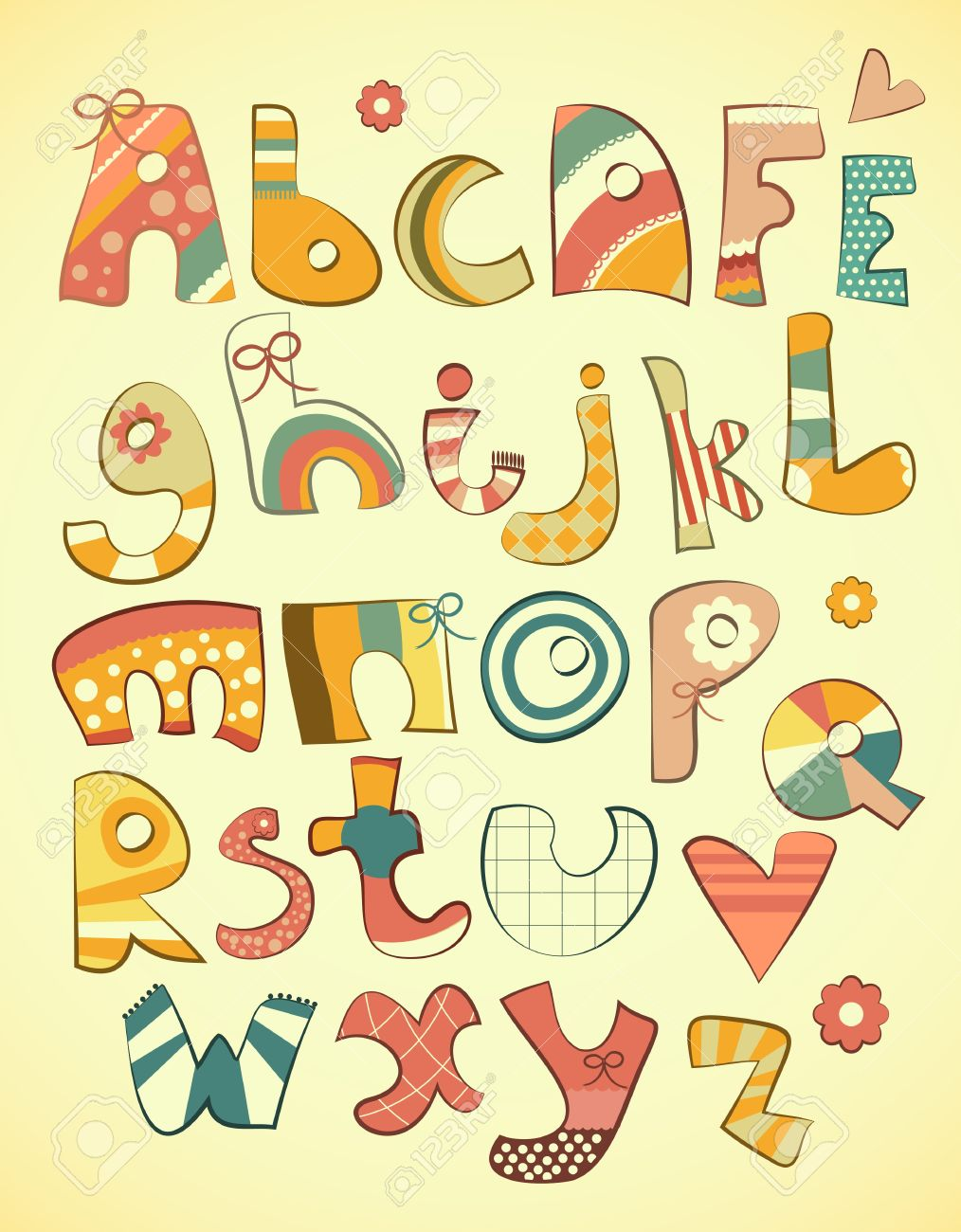 Alphabet Design In Fun Doodle Style Letters A Z Illustration Stock Vector