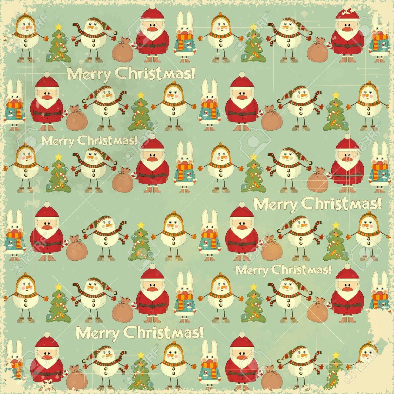 Navidad Vintage Fondo Los Signos De La Navidad Papa Noel Muneco - Vintage-navidad