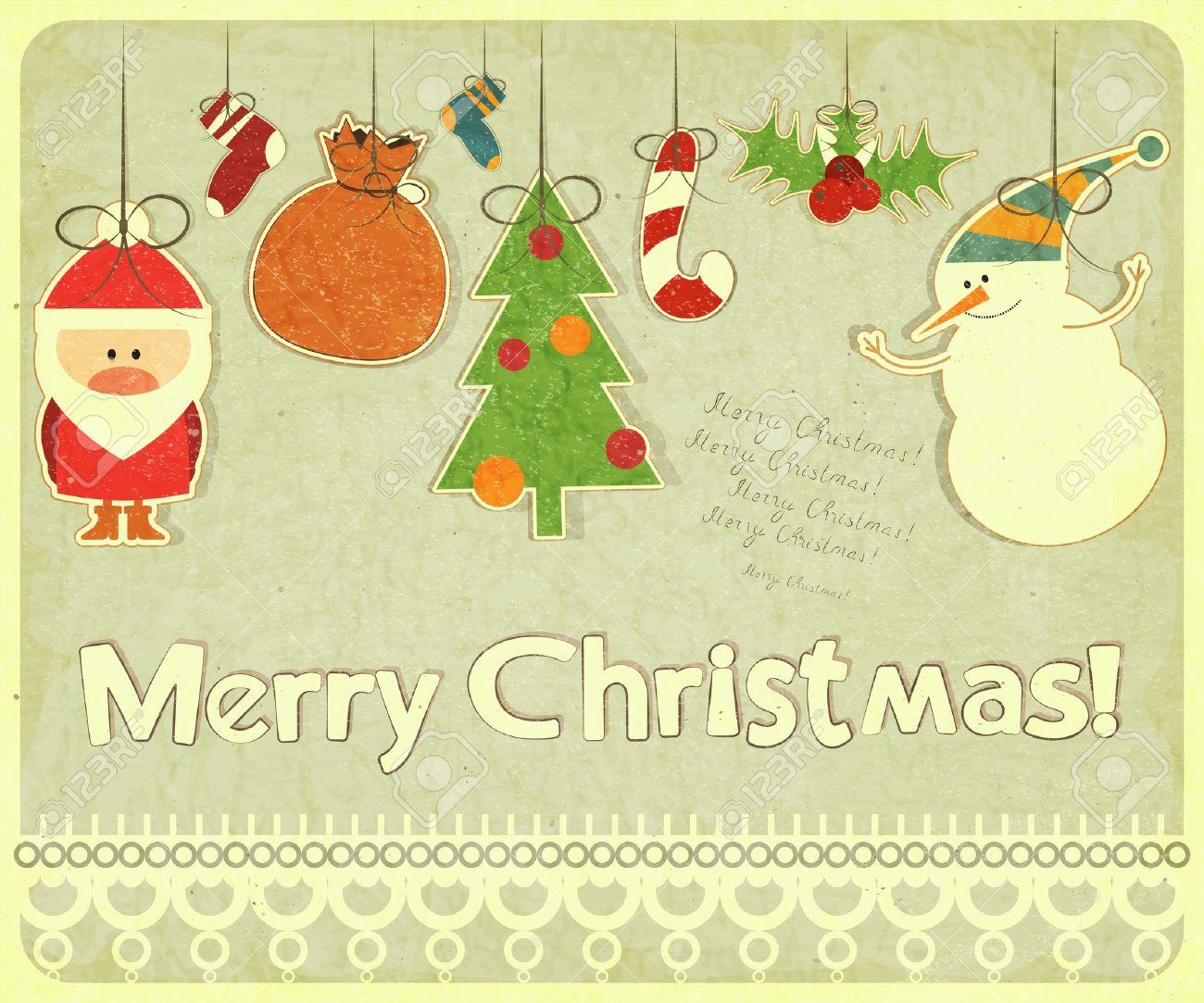 Old Christmas Postcard With Christmas-tree Decorations. Santa ...