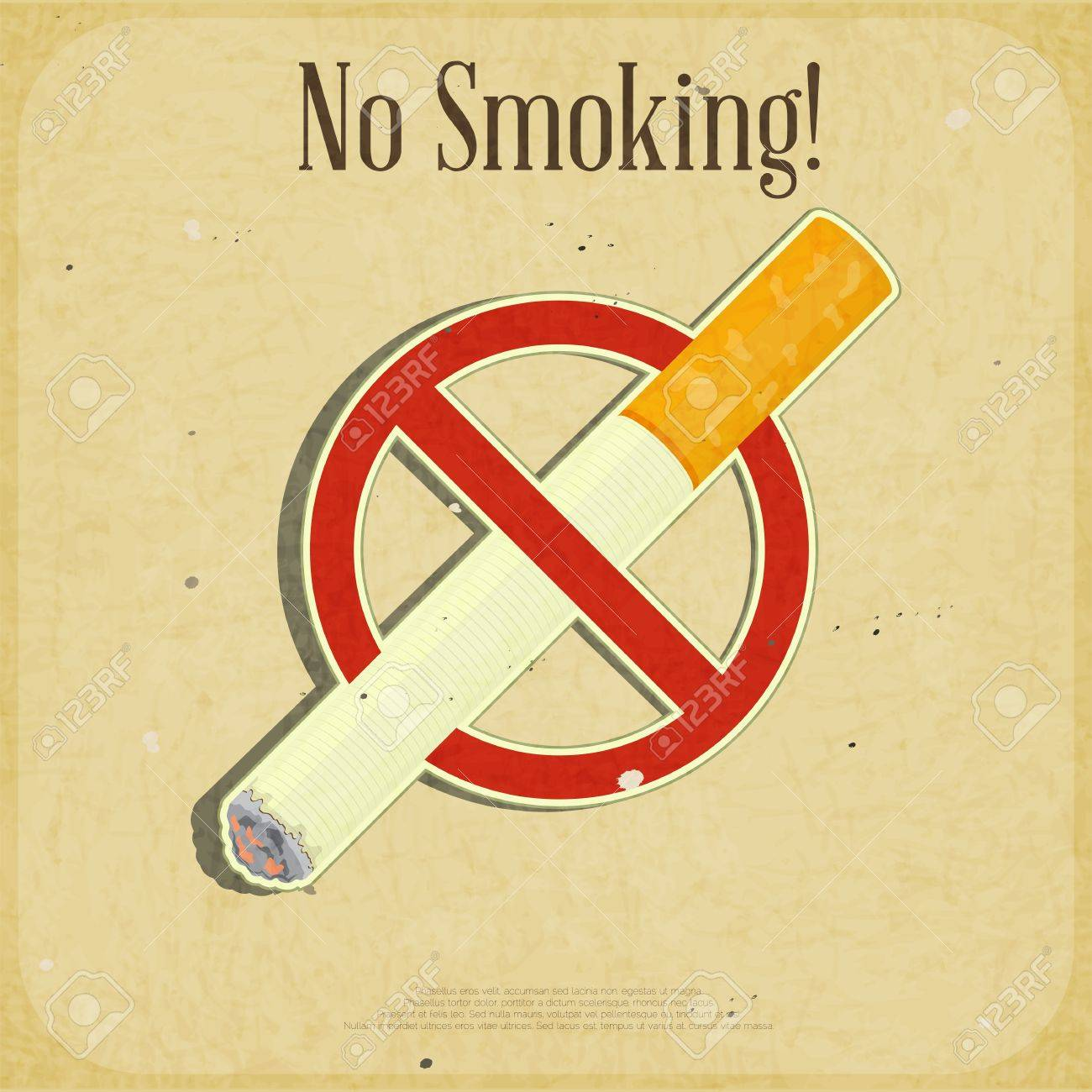 Retro poster - The Sign No Smoking - illustration Stock Vector - 15898290
