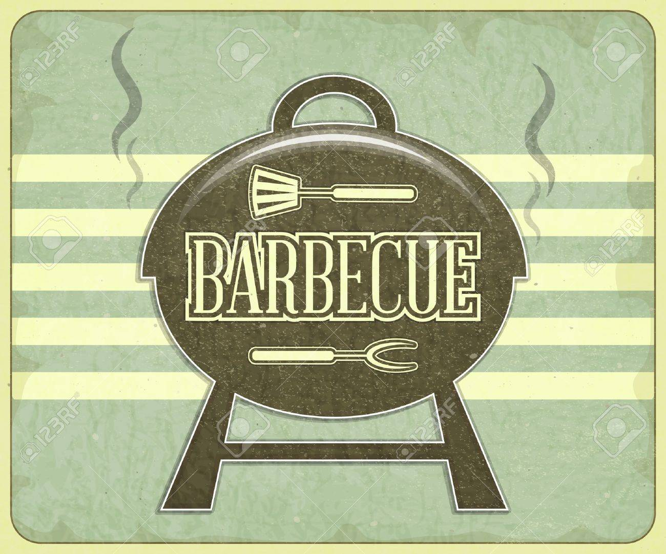 Cookout border clipart hot dog cookout invite stock vector art - Bbq Background Retro Design Grill And Bbq Menu Illustration Illustration
