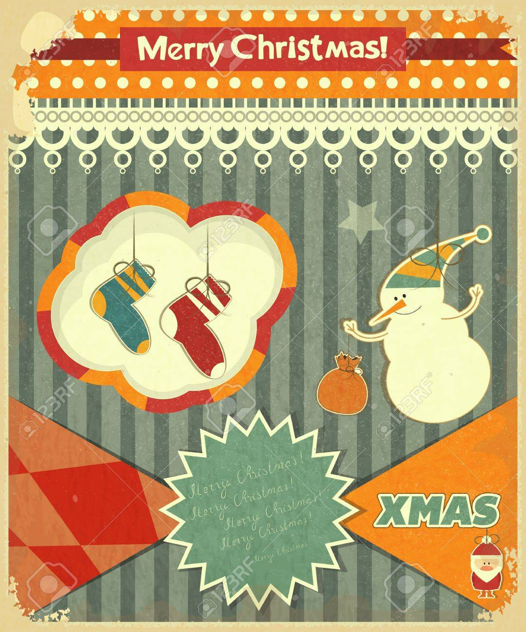 Old Christmas postcard with snowman and Christmas socks on a Vintage background. Vector illustration. Stock Vector - 15966891