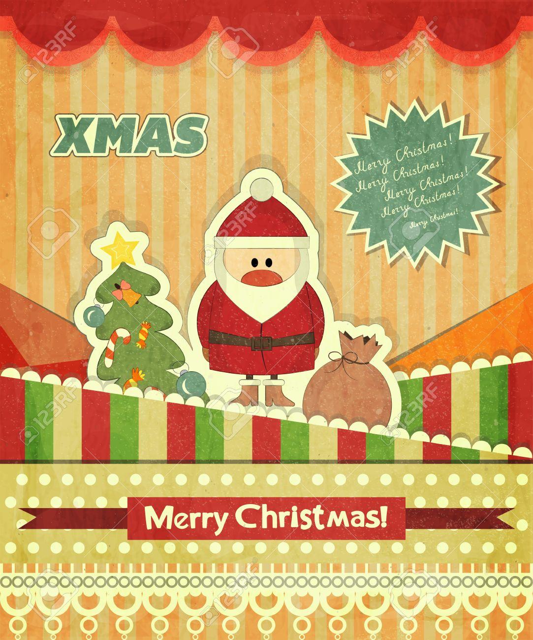 Christmas Cards With Santa, Christmas Tree And Text Merry Christmas ...