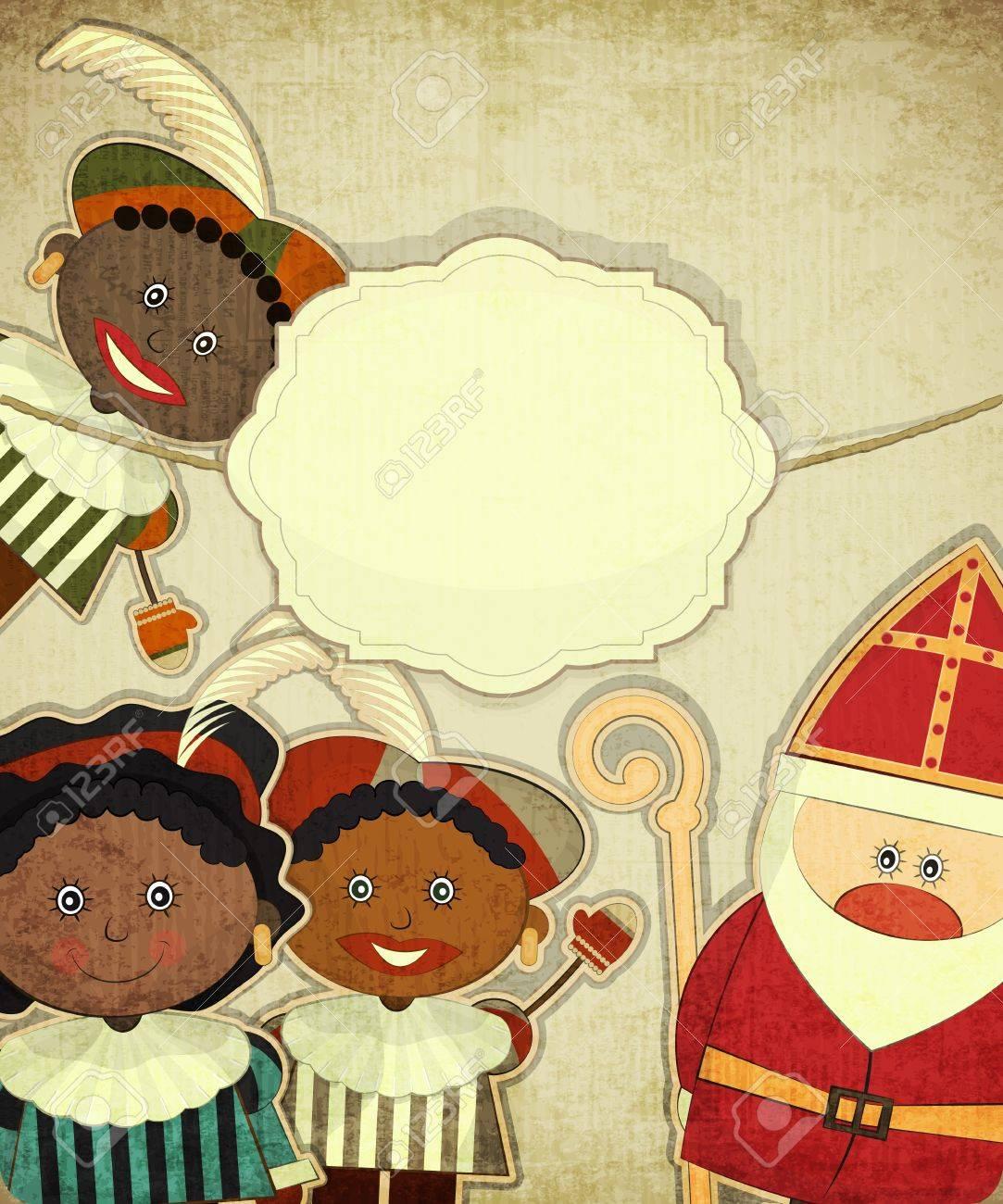 Christmas card with dutch santa claus sinterklaas and black christmas card with dutch santa claus sinterklaas and black piet postcard in vintage style kristyandbryce Choice Image