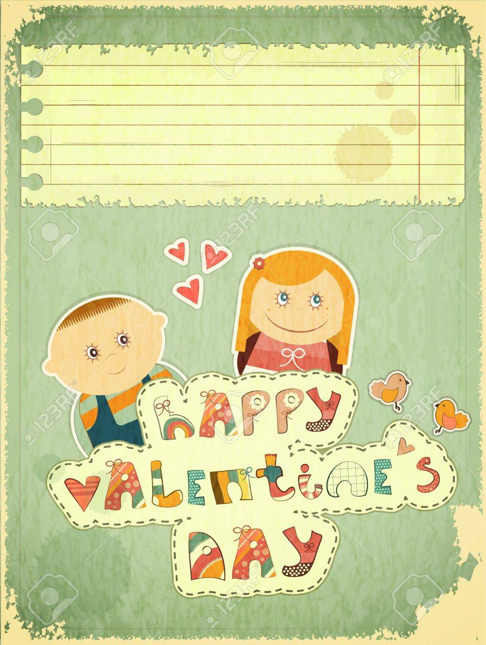 Vintage Design Valentines Day Card With Cartoon Boy And Girl – Boy Valentines Day Cards