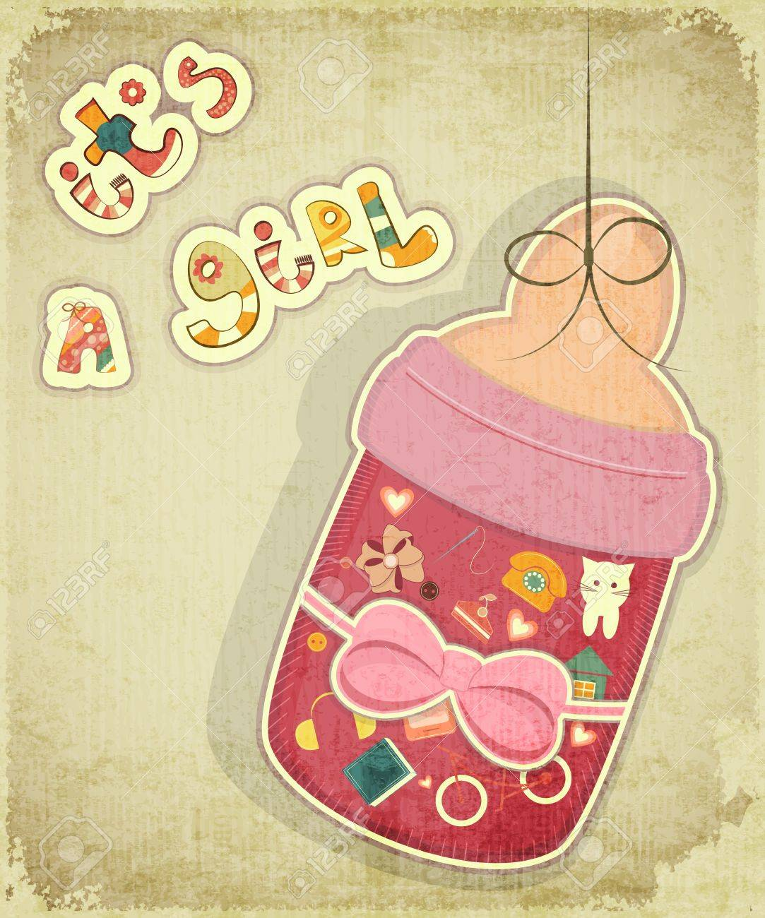 Birthday Card for Girl. Baby milk bottle for girl on vintage background. Stock Vector - 16581566