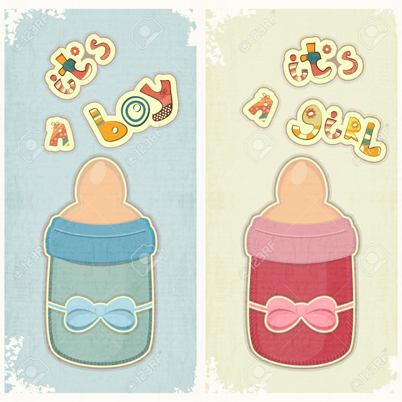 Set Of Birthday Card For Boy And Girl Baby Milk Bottle On Vintage Background