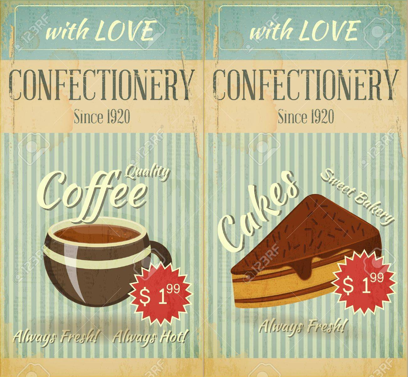 Vintage two Cards Cafe confectionery dessert Menu in Retro style - illustration - 17540972