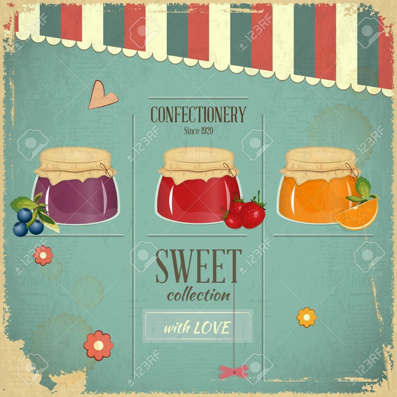 Confectionery Menu Card In Retro Style - Jam Marmalade Dessert ...