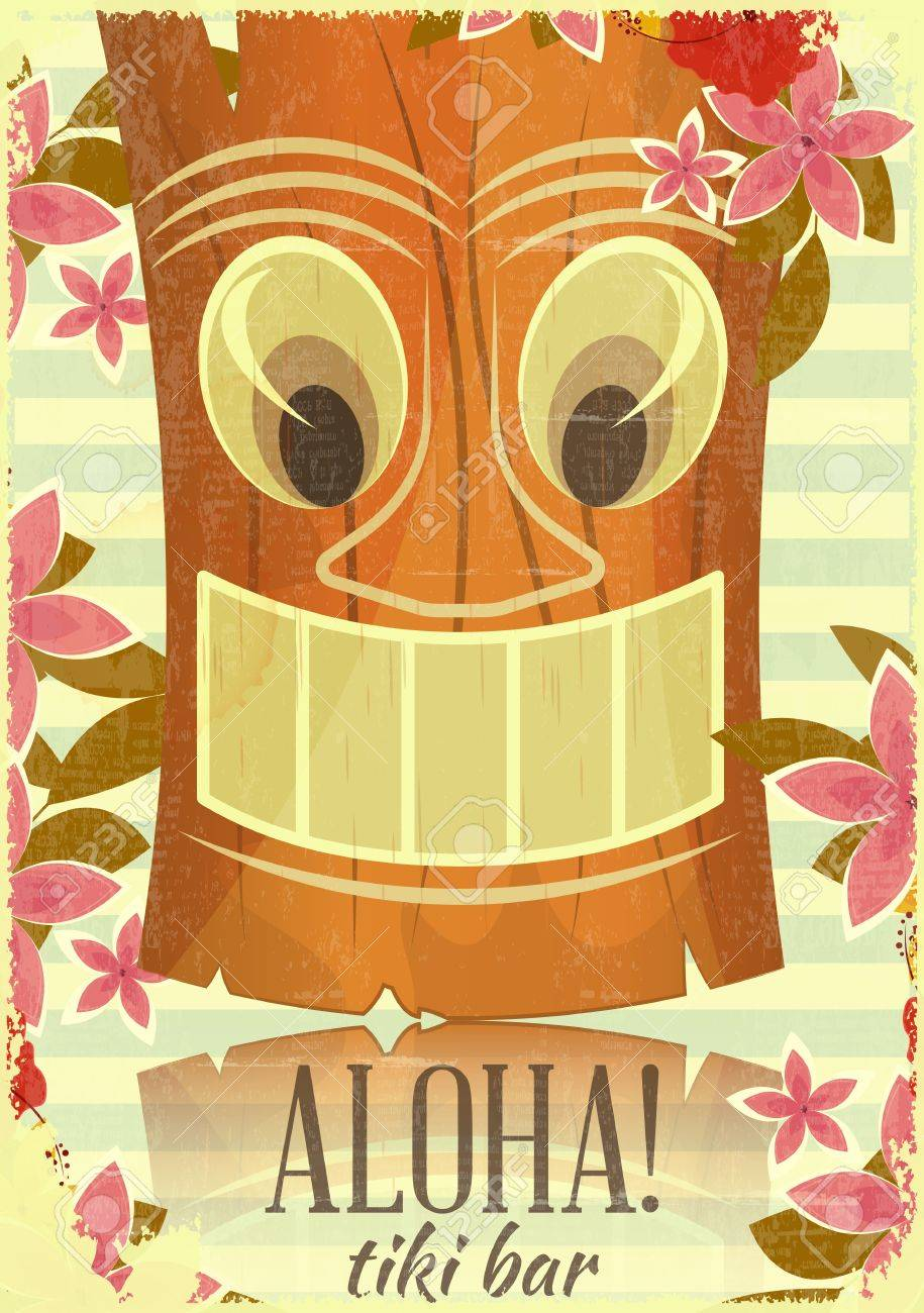 Vintage Hawaiian Aloha postcard - invitation to Tiki Bar - vector illustration Stock Vector - 17859644