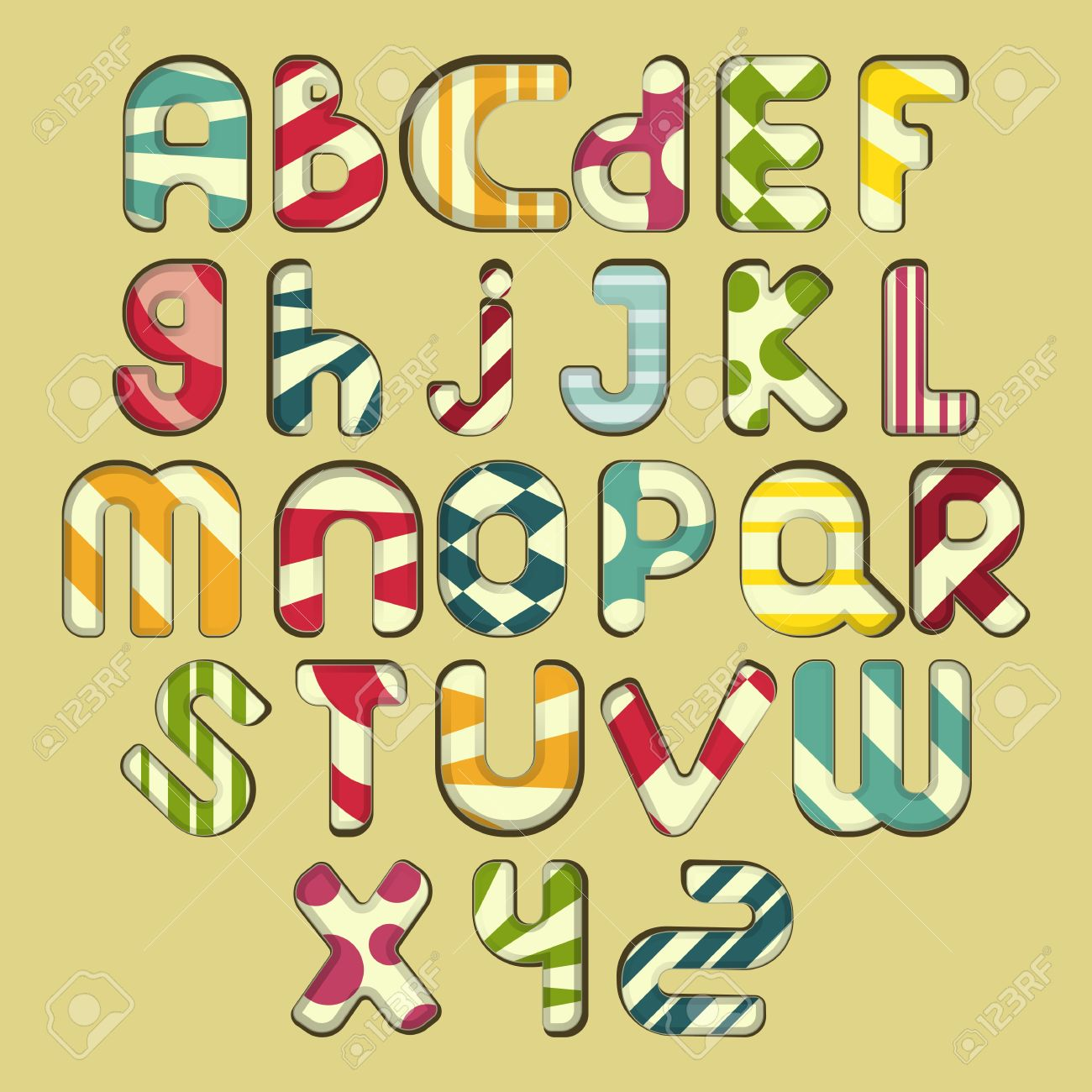 multicolored striped Alphabet design in fun doodle style letters