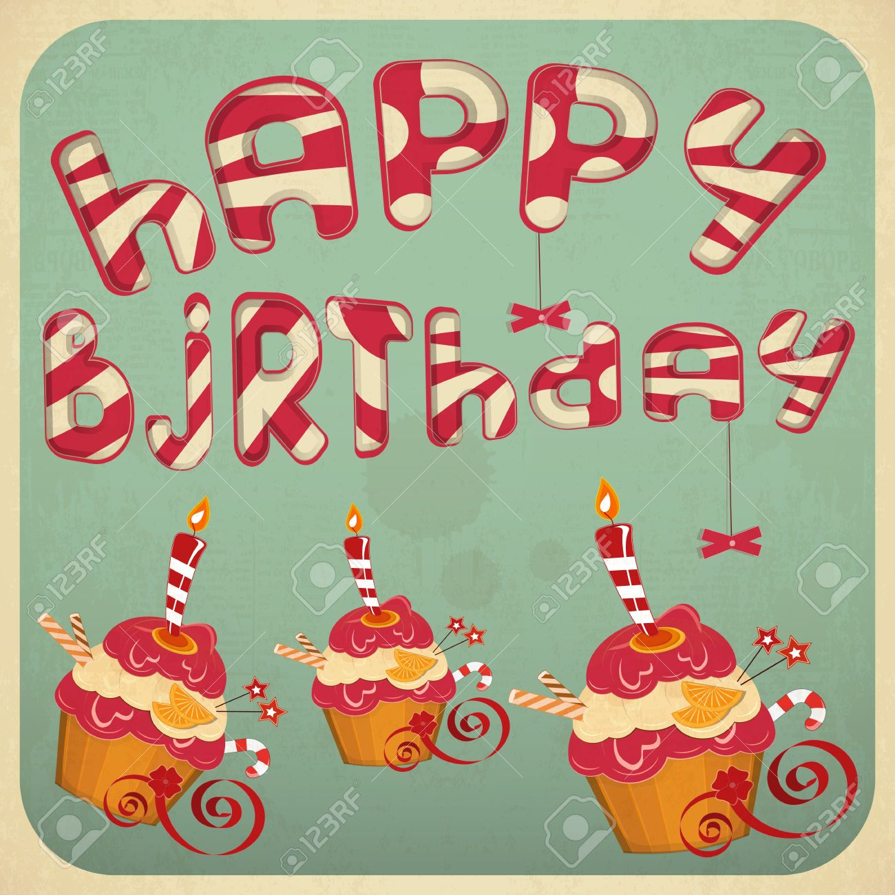 Vintage Birthday Card With Cakes Vector Illustration Royalty Free