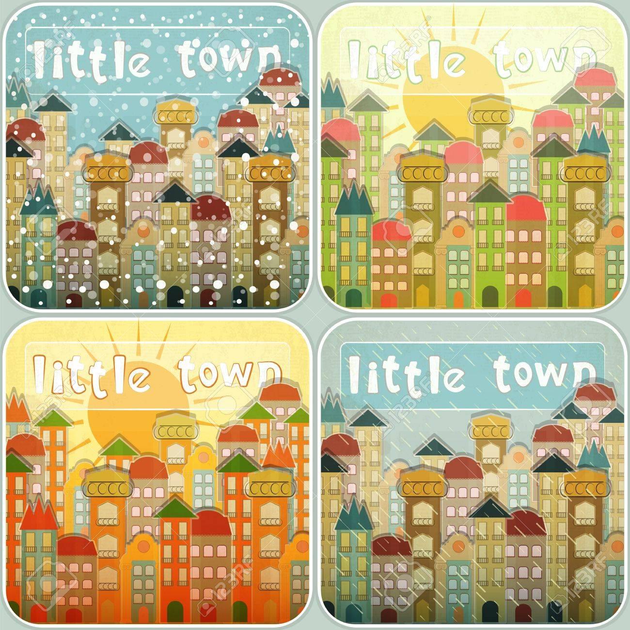 Small Town Vintage Retro Seasons Set. Hand Lettering - Little Town.  Illustration. Stock Vector - 17973522