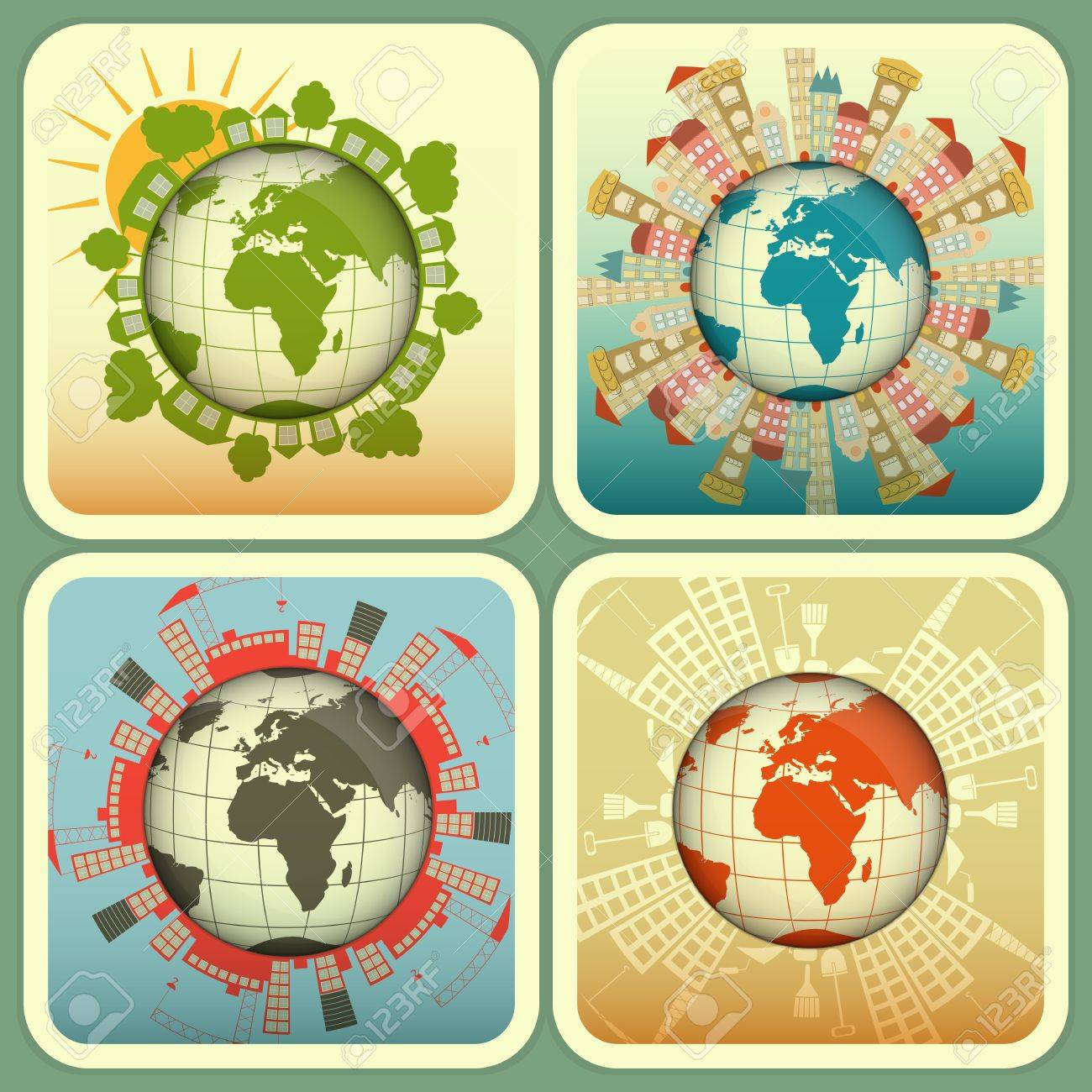 Concept of Urban and Rural Construction. Four Square Icons - Houses around the Planet Earth.  Illustration. Stock Vector - 17973526