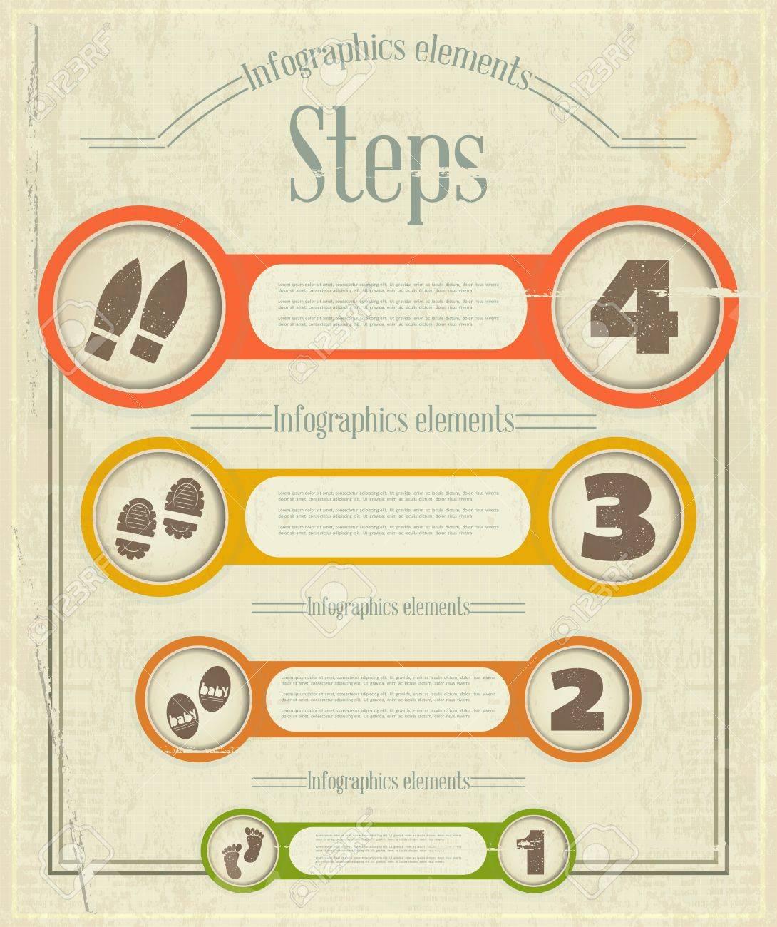 Vintage Infographics Design. Steps. Retro Elements for Visualization -  illustration. Stock Vector - 18349967