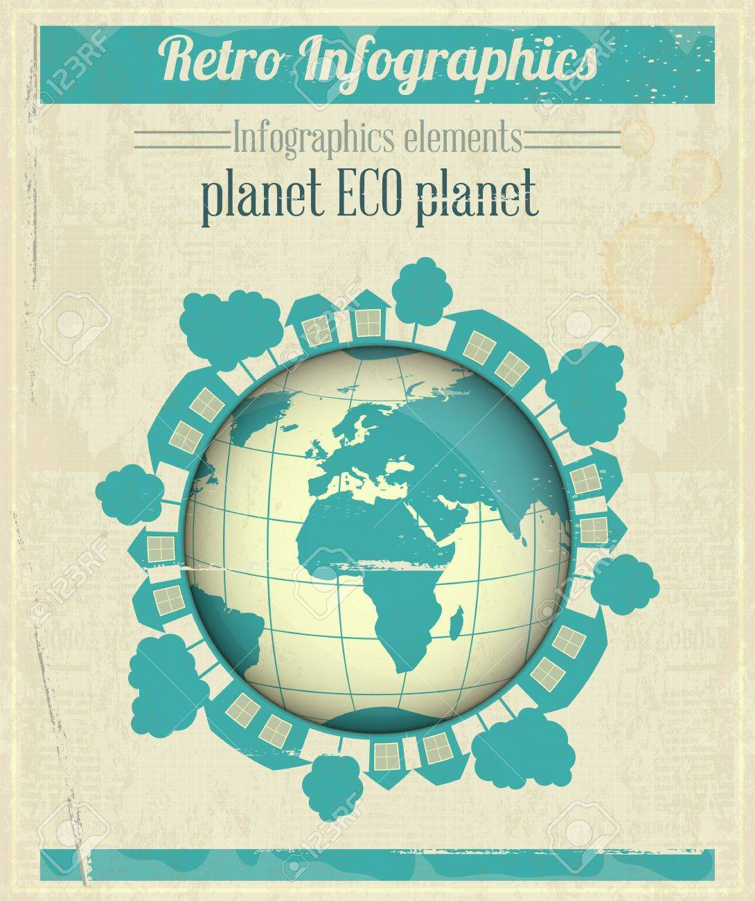 Ecology Concept Eco Planet, Blue Earth on Vintage Paper Background. Infographics. Vector illustration. Stock Vector - 18403673