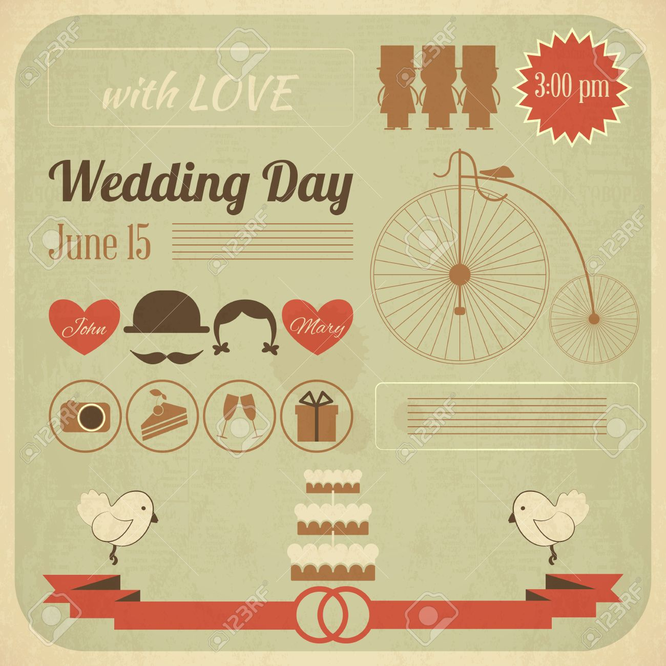Wedding Day Invitation Card In Retro Infographics Style Vintage Royalty Free Cliparts Vectors And Stock Illustration Image 19218293