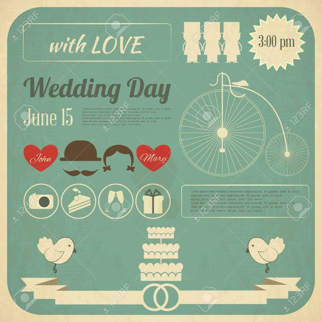 Hochzeits Einladung In Retro Infografik Stil. Vintage Design, Quadratischen  Format. Illustration