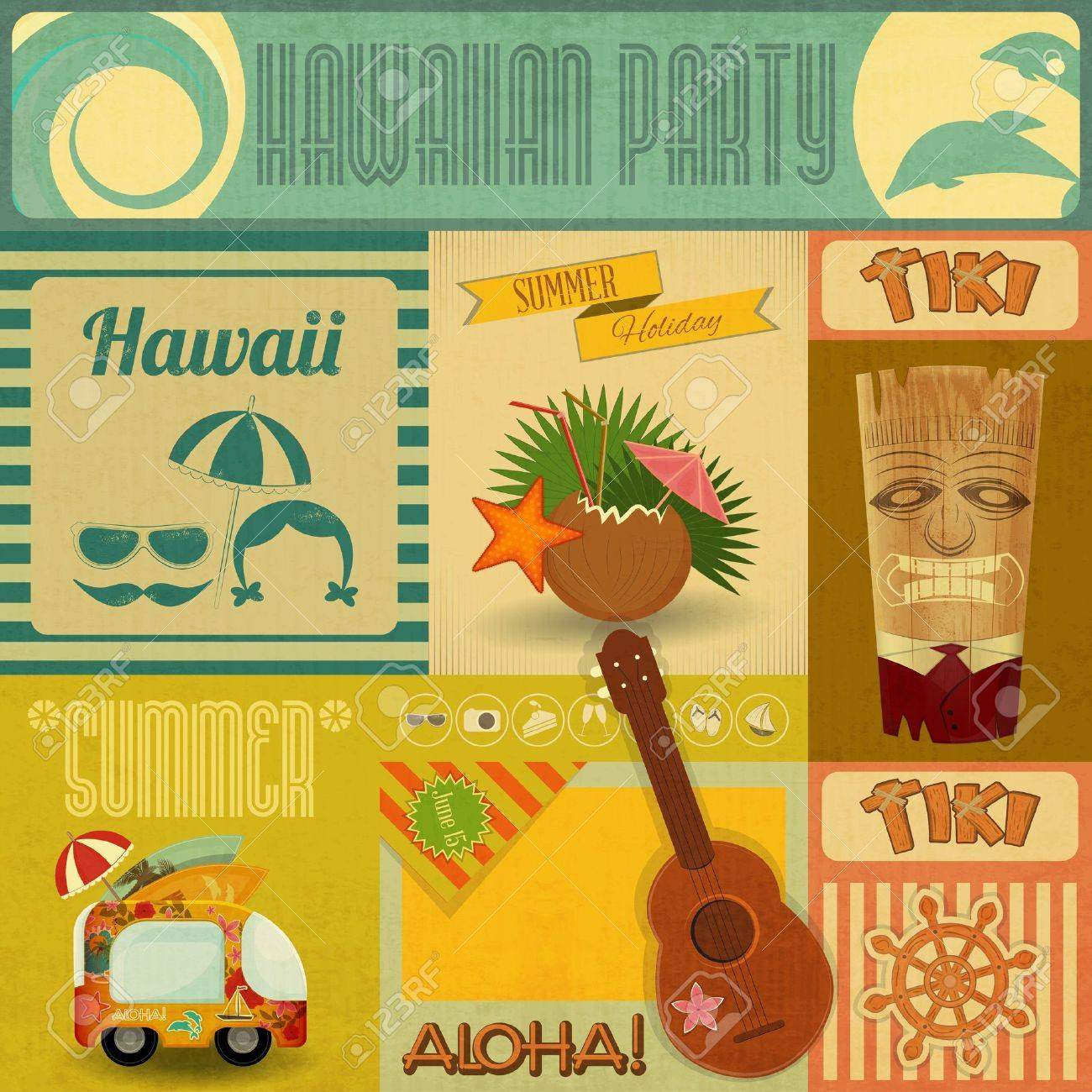 Hawaii Vintage Card. Set of stickers for Hawaiian Party in Retro Style. Vector Illustration. Stock Vector - 21024017