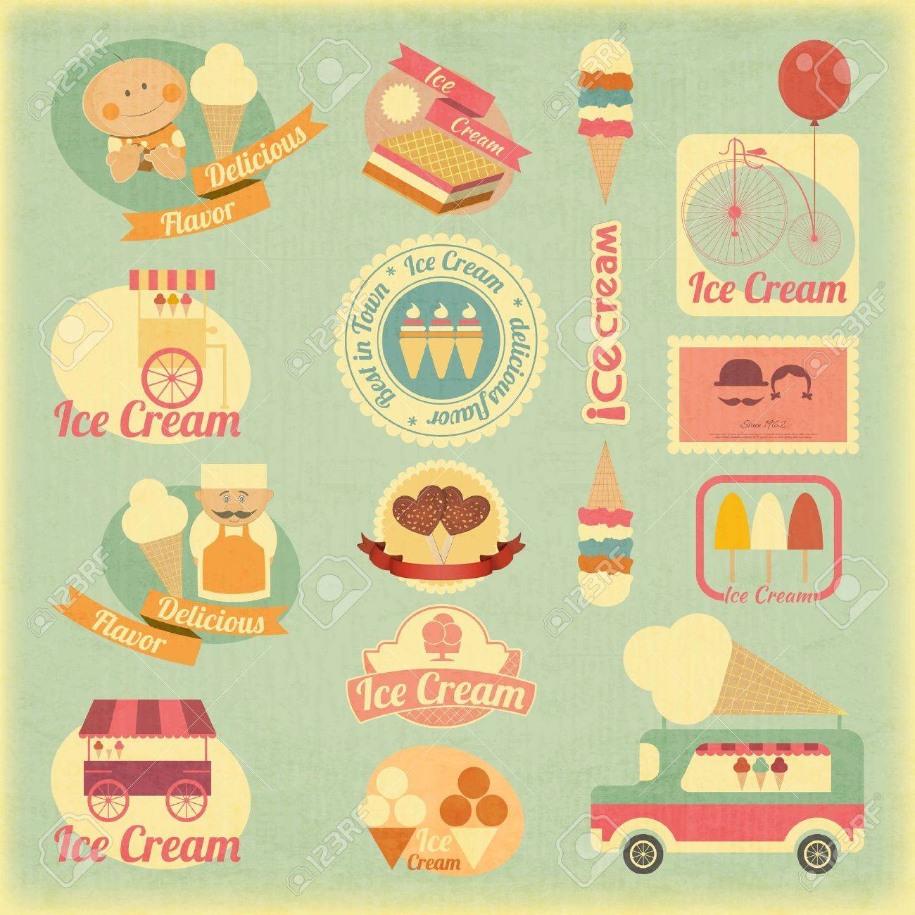 Ice Cream Dessert Vintage Labels in Retro Style - Set of Ice Cream Design Elements. Stock Vector - 21159185