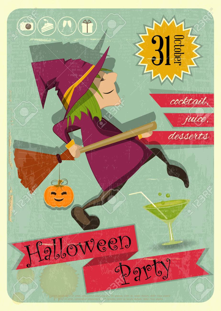 Retro Halloween Party Invitation With Witch In Vintage Style ...