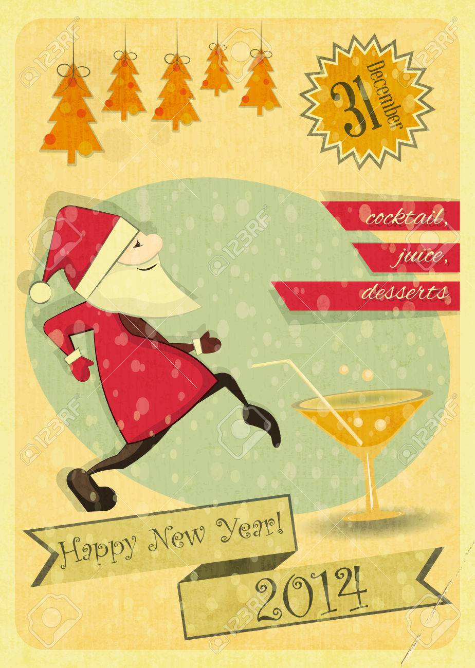 retro new years card with christmas tree and santa claus invitation to the new year