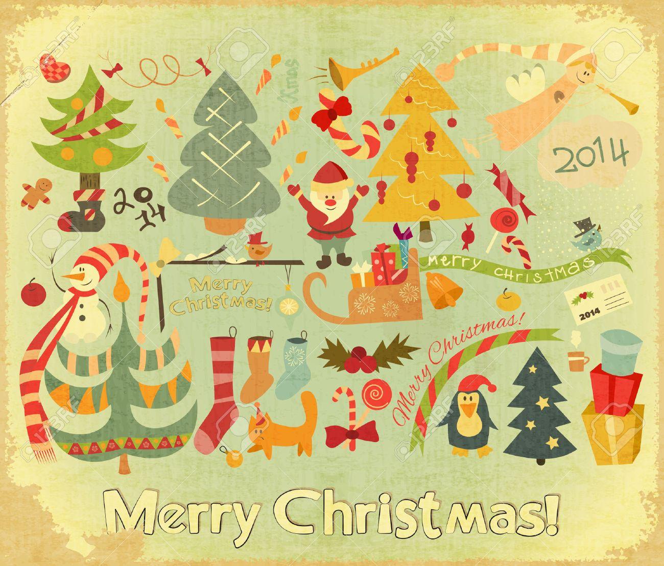 Retro Merry Christmas Card With Santa Claus, Christmas Tree And ...
