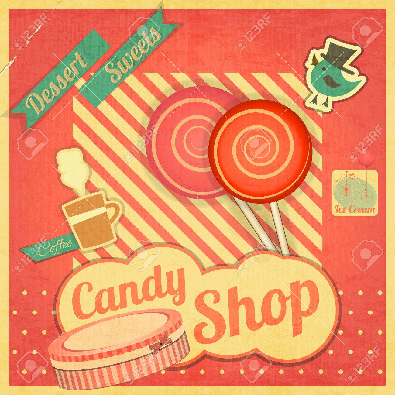 Candy Sweet Shop. Vintage Card Retro. Vector illustration Stock Vector - 24091394