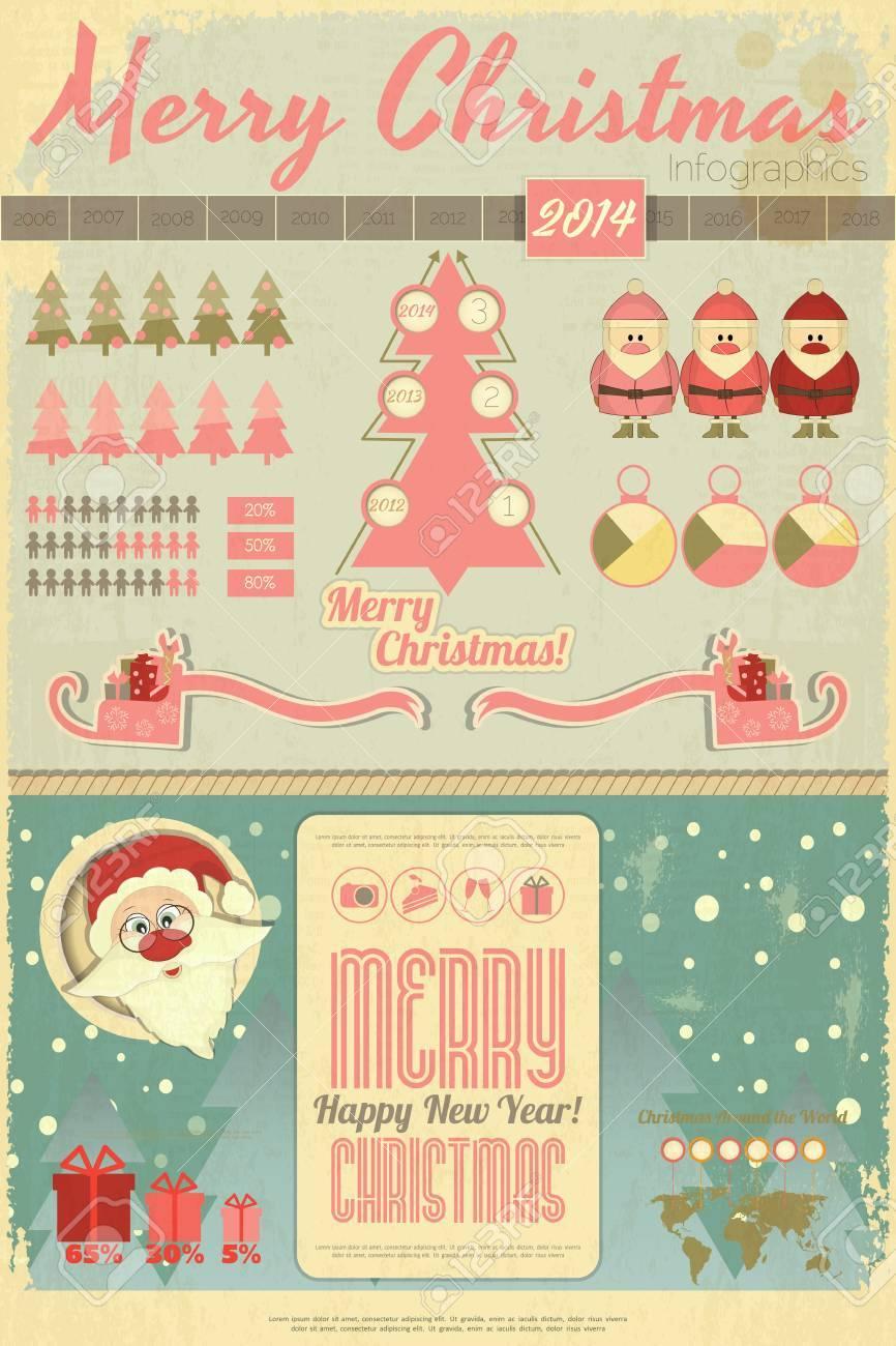 Immagini Vintage Natale.Vettoriale Vintage Natale E Capodanno Infografica Con Babbo Natale E Slitta In Stile Retro Illustrazione Vettoriale Image 24094724