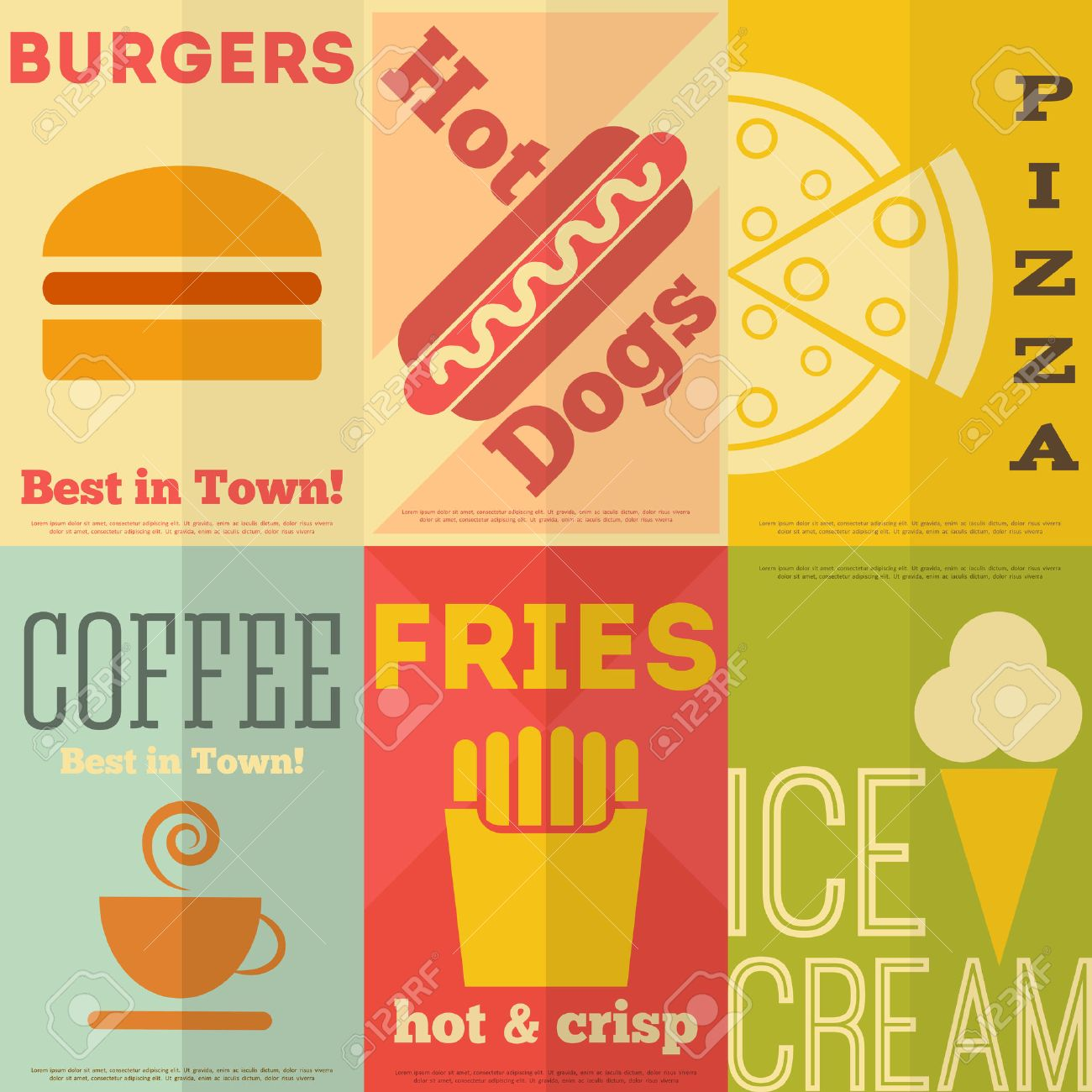 Design poster the best - Retro Fast Food Posters Collection In Flat Design Style Vector Illustration Stock Vector