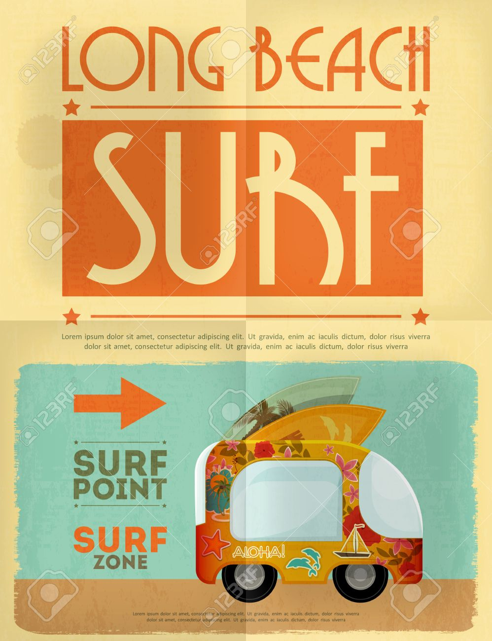 Design poster retro - Surf Retro Poster With Bus In Vintage Design Style Vector Illustration Stock Vector
