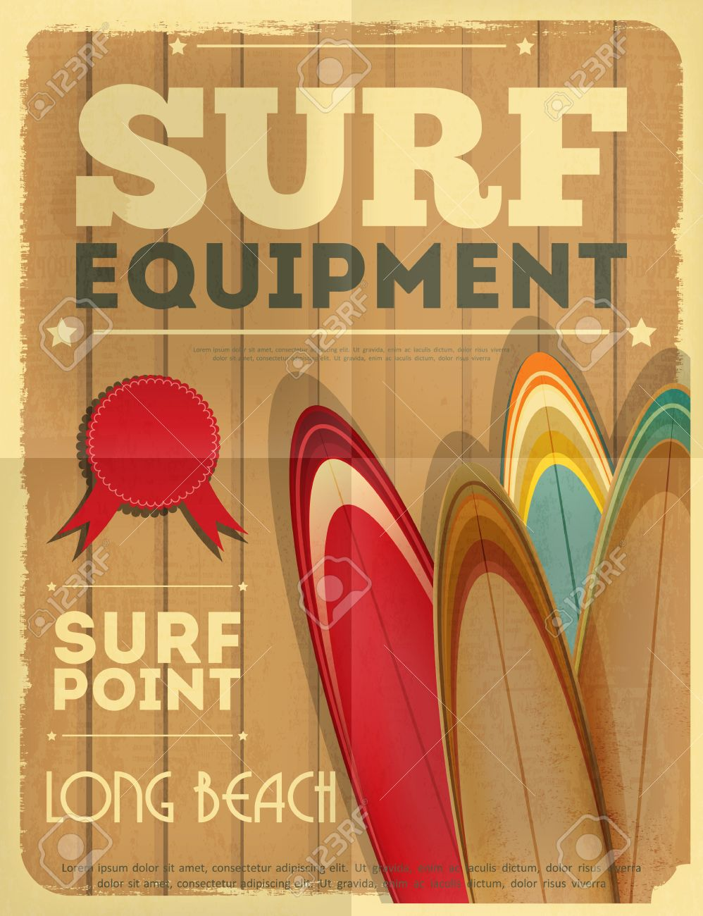 Design poster retro - Surf Retro Poster With Surfboards In Vintage Design Style Vector Illustration Stock Vector