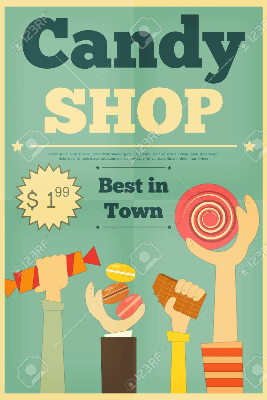 candy shop retro poster with hands holding sweet vector