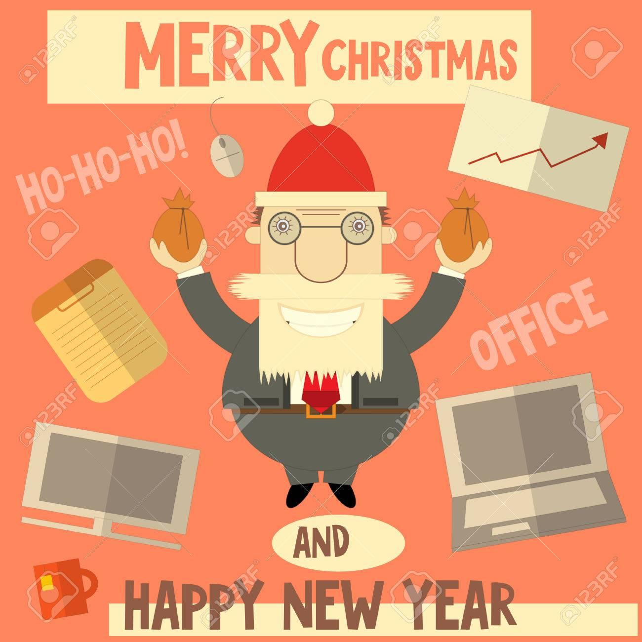 Merry Christmas Boss.Merry Christmas Greeting Card With Cartoon Santa Claus Boss