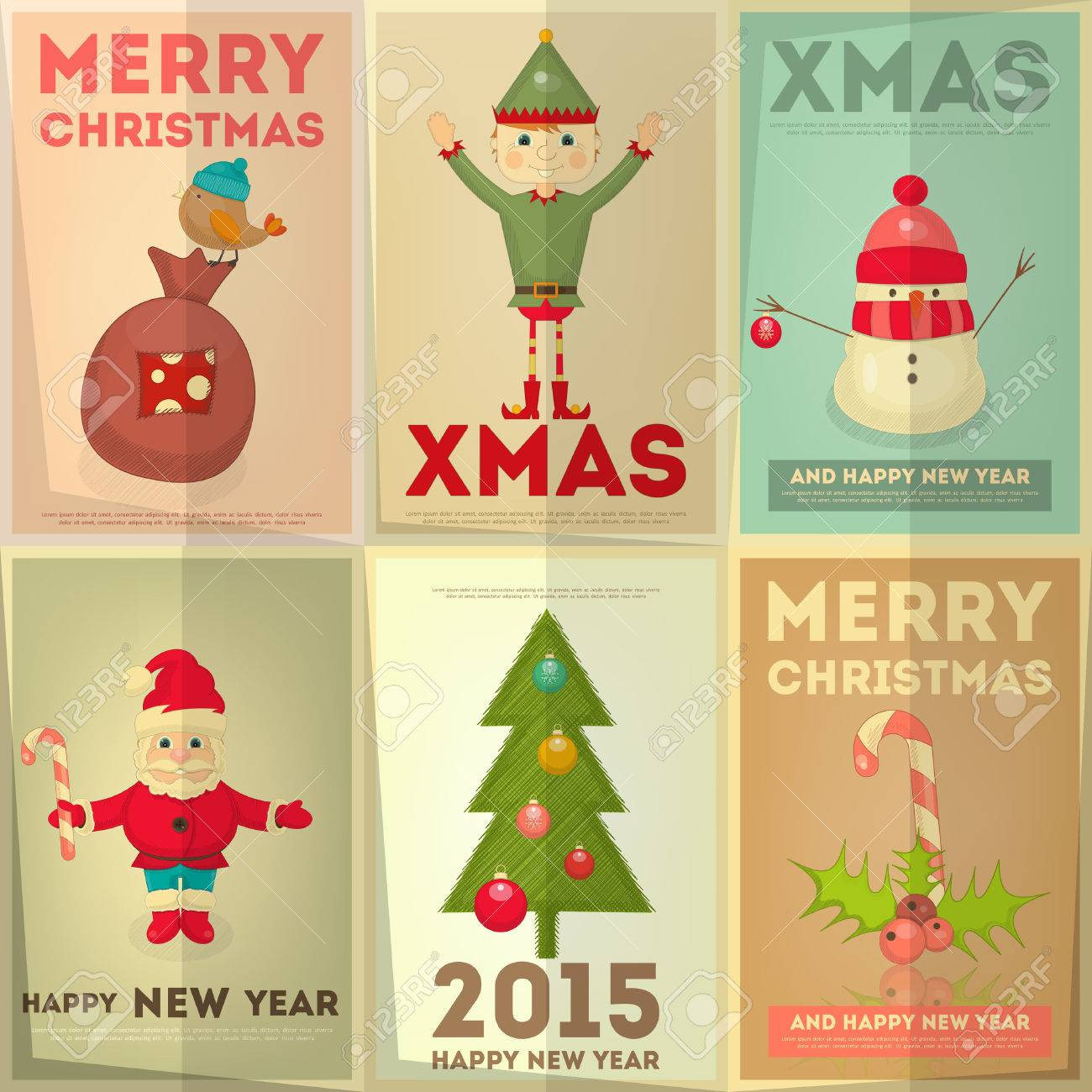 Xmas poster design - Merry Christmas Greeting Poster Set With Cartoon Cute Santa Claus Christmas Elf And Snowman