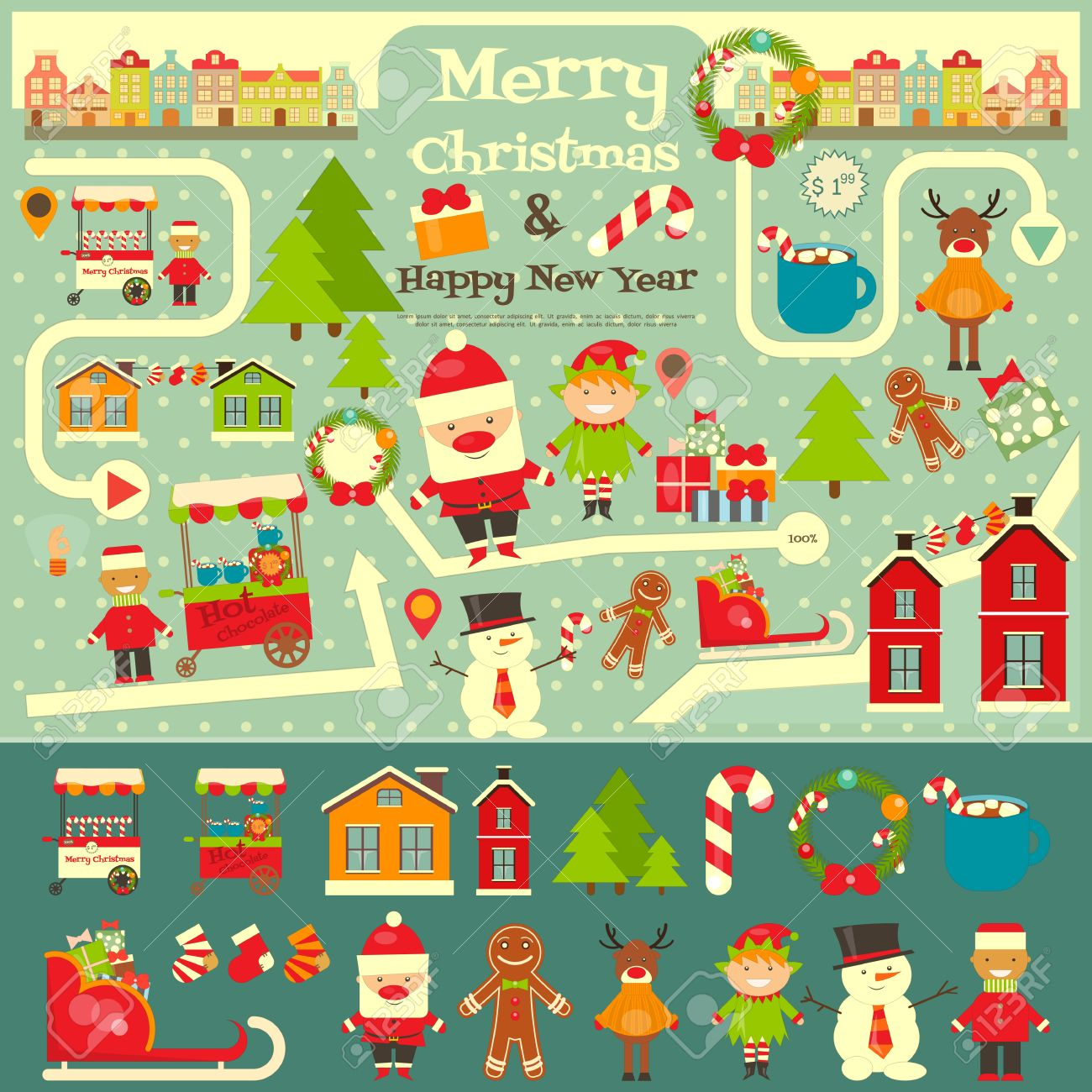 Christmas characters on City Map. Santa Claus on Infographic.. on oolitic map, oats map, tell city map, gulf of antalya on a map, headless horseman map, splashin safari map, santa and his reindeer, north pole map, track santa map, christmas map,