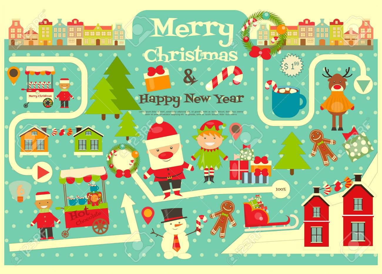 Babbo Natale Mappa.Vettoriale Caratteri Di Natale Su Mappa Della Citta Il Babbo Natale Sveglio Su Infografica Card Venditori E Camion Con Cibo Di Natale Illustrazione Vettoriale Image 46560040