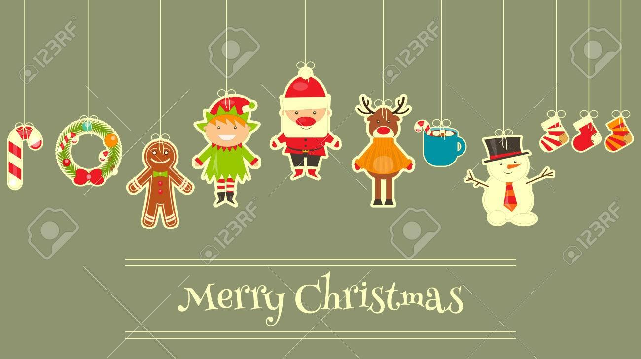 Weihnachten Zeichen Auf Grußkarten. Santa Claus, Schneemann Und Deer ...