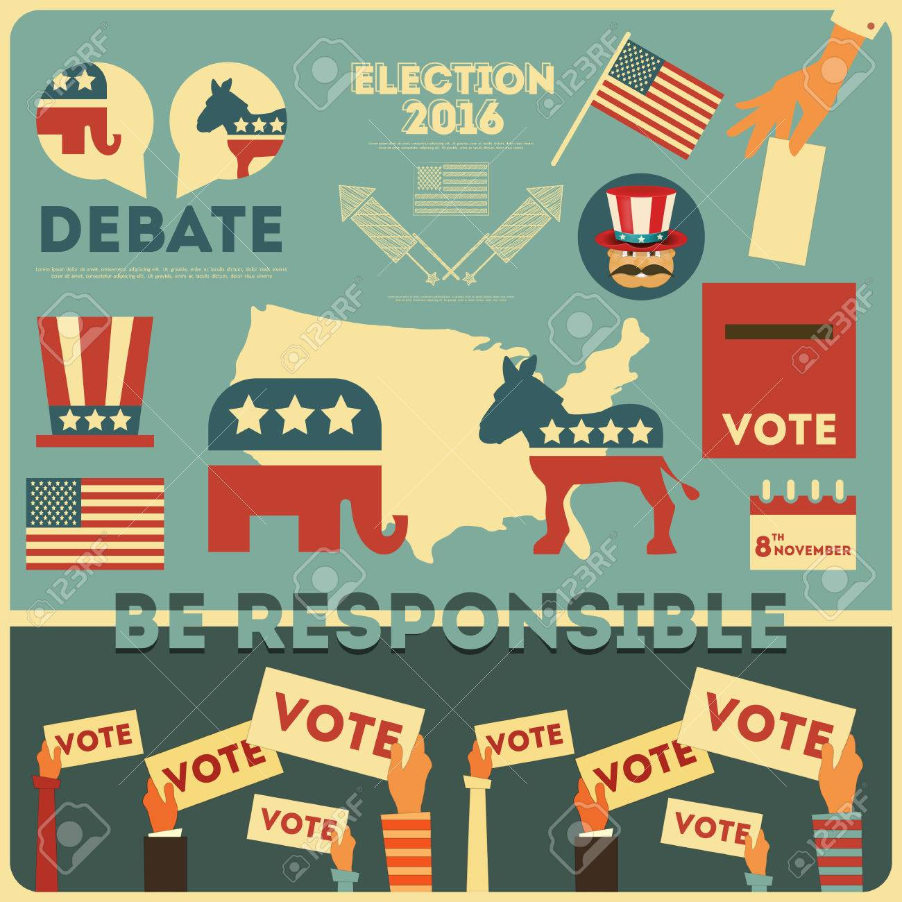 Presidential Election Voting Elements. Illustration. - 52223817