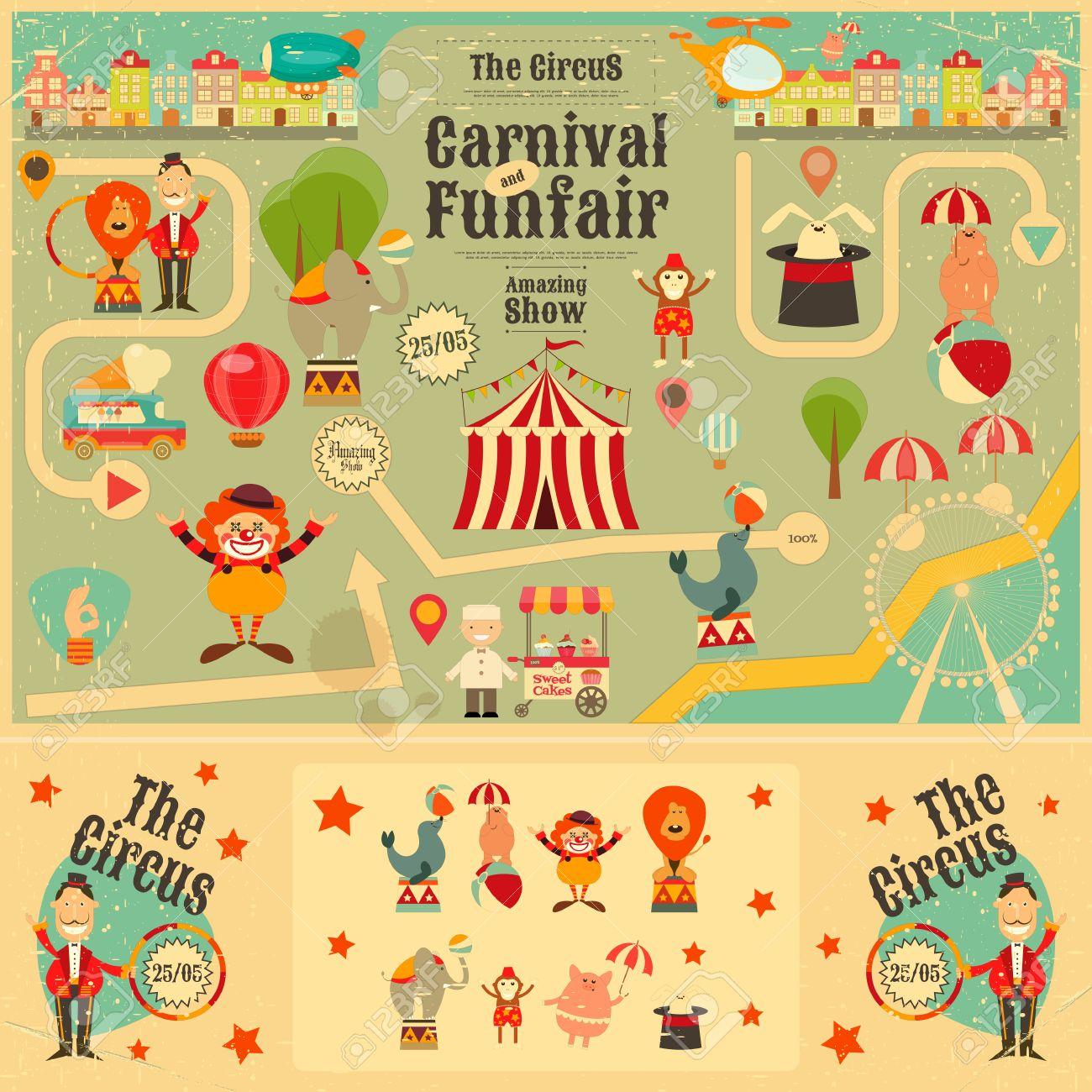 サーカスの遊園地とビンテージ スタイルのカーニバルのポスターです