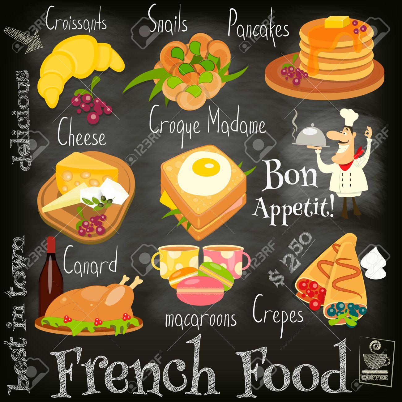 Französisch-Food-Menü-Karte Mit Traditionellen Essen Auf Tafel ...