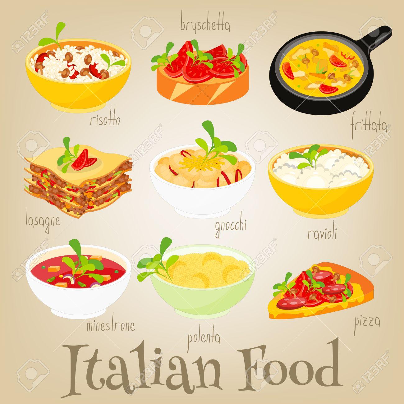 Cuisine Illustration italian traditional food set. italian cuisine. food collection