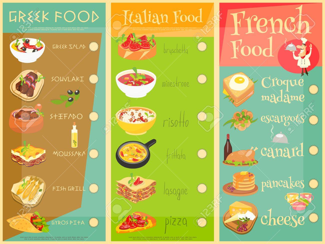 Europäische Küche Menü. Griechisch, Italienisch, Französisch Essen ...