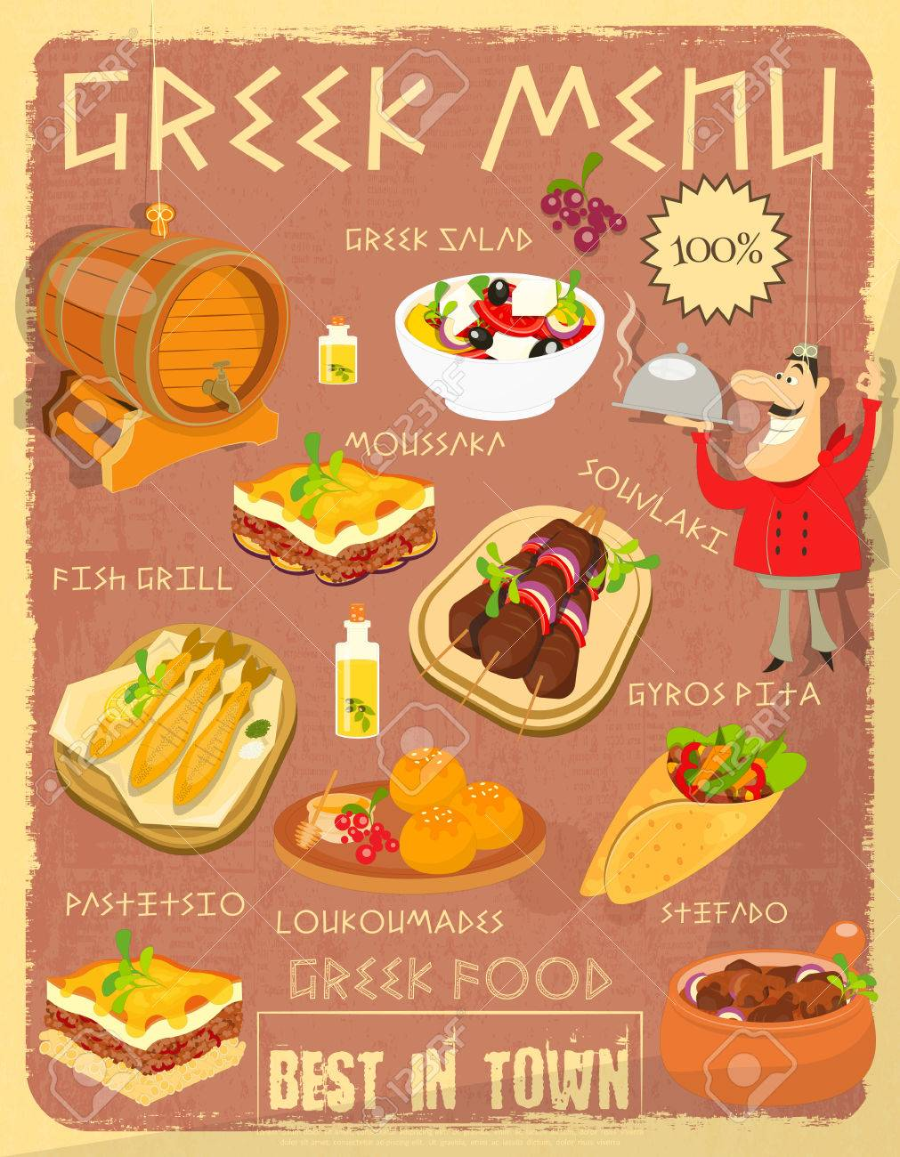 Greek Food Menu Card With Traditional Meal Retro Vintage Design